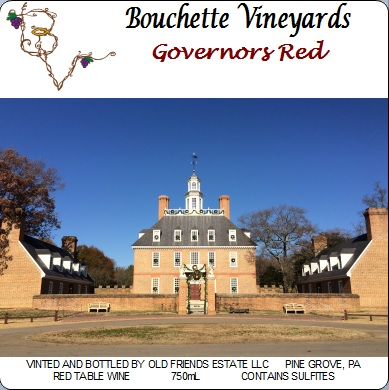 Bouchette Vineyards Governor's red table wine